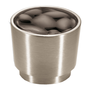 Cabinet Knob + Insert - 34mm - Satin Nickel Plated & Brown Anthracite Finish
