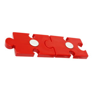 Kids Cabinet Double Puzzle Handle in Red Color with White Aluminum