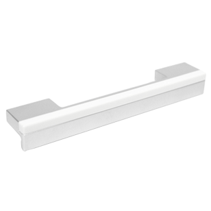 Cabinet Handle - 148mm - High Gloss White with Bright Chrome Finish