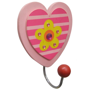 Heart Hook with Flower - 1 Peg - Wood/Metal - Multicolored Finish