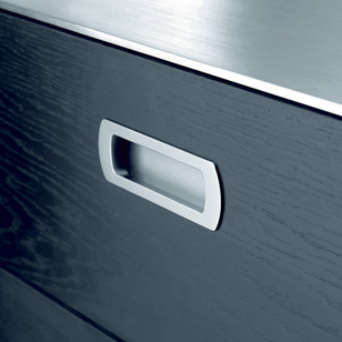 LUX - Cabinet Flush Handle - Inox Look Finish - 128mm