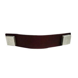 Cabinet Leather Handle - 160mm - Brass / Maroon Leather