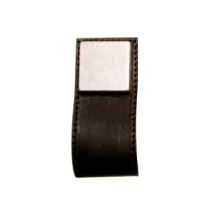 Cabinet Leather Pull - 84mm - Brass / Black Leather