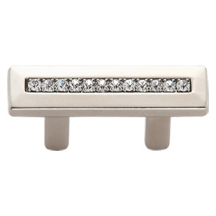Modern Cabinet Handle - 32mm -  Crystal with Polished Chrome Finish