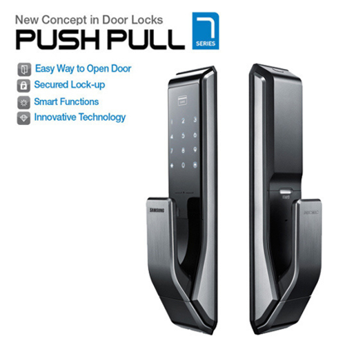 Buy Biometric Push Pull Digital Touch Keypad Lock Black