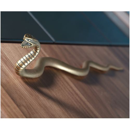 Buy Impala Snake Cabinet Handle In Antique Brass Finish