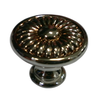 Cabinet Knob - 40mm - Polished Silver & Old Gold Finish