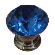 Cabinet Knob in Blue Crystal