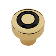 Black Swarovski Cabinet Knob in Gold Fi