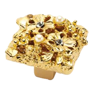 Jewel Petit Bouquet Cabinet Knob in Gol