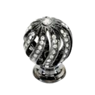 Fancy Jewel Cabinet Knob - 26mm - Crystal with Chrome Finish