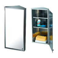 Corner Mirror Cabinet - 30X60X18.5cm - Chrome Plated
