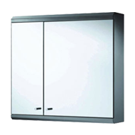 Double Door Mirror Cabinet with Hood  - 60X55X13cm - Chrome Plated