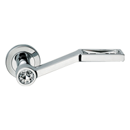 VIOLA Lever Handle on Round Rose in Chrome Finish