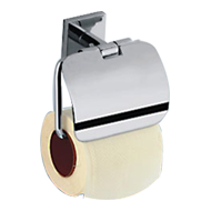 FORTUNE COLLECTION - Toilet Paper Holder with Flap -  Chrome Plated Finish