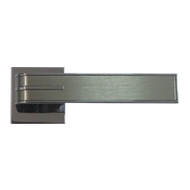 Door Lever Handle on Rose - Chrome Plated/Brushed Nickel Finish