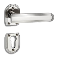 Deco Door Lever Handle on rose  - Chrome Finish