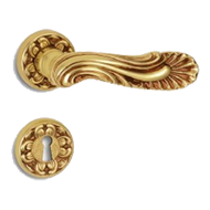 BRUGES Door Lever Handle on rose  - Old Gold (POV) Finish
