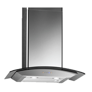 Wall Mounted Built-in Chimney - 60cm - Curved Glass & Stainless Steel Finish