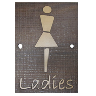 LADIES Signage - 6X9 Inch - Dark Wood Finish