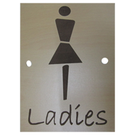 LADIES Signage - 6X9 Inch - Light Wood Finish