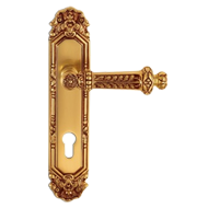 Capua Door Handle on Plate - Old Gold F