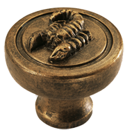 Scorpion Furniture Knob in Antique Bras
