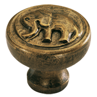 Impala Elephant Cabinet Knob in Antique