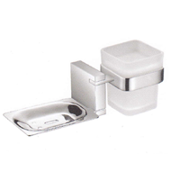 Tumbler Holder with Soap Dish - Chrome Plated Finish