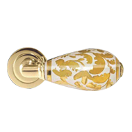 Door Lever Handle - White Gold/Polished Brass Finish - KERAMEIA LUX