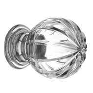 Pull&Push crystal knob on brass base - Clear Crystal/Chrome Plated Finish - Dia - 80