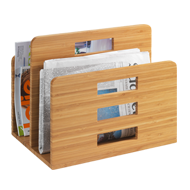 Newspaper Rack Bamboo Finish