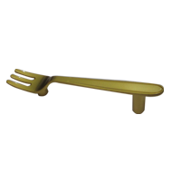 Fork Cabinet Handle - Royal Gold Finish - CC:70mm - Overall:100mm