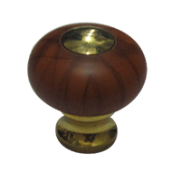Cabinet Knob - Gold/Natural Teak (Dark