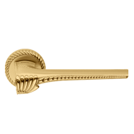 CHORA Lever Handle on rose - Satin Brass/Polished Brass Finish