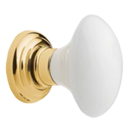 Door Knob - Satin Brass/AW Wh