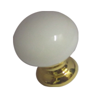 Cabinet Knob - Gold/White Finish - Dia
