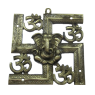 Swastik Ganesh Carving - Size : 9X9 Inch - Antique Brass Finish