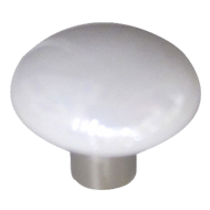 Cabinet Knob - White / Satin Nickel Finish