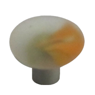 Crystal Cabinet Knob - White with Orang