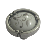 Cabinet Ceramic Knob - Antique Silver Finish