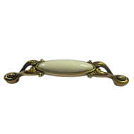 Cabinet Ceramic handle - 128mm - Valenza Gold Finish