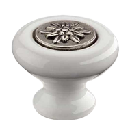 Cabinet Knob - 38mm - White Porcelain/Antique Silver Finish