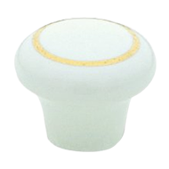 Cabinet Knob - 25mm - Bright Gold/ White Colour