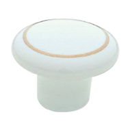Cabinet Knob - 33mm - Bright Gold/White