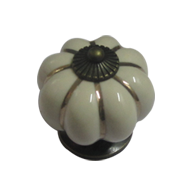 Cabinet Knob (Small) - Off White & Antique Brass Finish