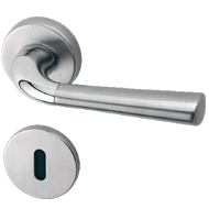 S-91 Lever Handle on Rose in Matt Satin Nickel Finish