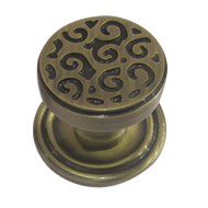 Swirl Cabinet Knob with Rose - 30mm - A