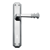 Door lever Handle on Plate - Chrome Fin