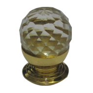 Crystal Clear Ball Cabinet Knob - Gold Finish - Small